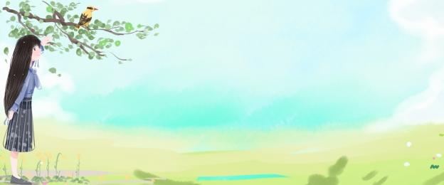 24太陽用語 風景 女の子 グリーン, ポスター, 黄色の鳥, 風景 背景画像