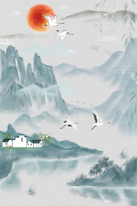 landscape poster traditional solar terms vernal equinox spring festival , Stepping, Hello Spring, Crane ภาพพื้นหลัง