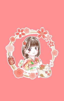 art pink cartoon little girl , Cute, Literary, Art ภาพพื้นหลัง