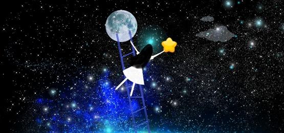 はしご 湖 月の星空の少女 子供のイラスト, 星の夜, 月面に降りる少女, 子供のイラスト 背景画像