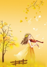 little girl playing violin illustration poster background , Ginkgo, Trees, Bench Background image