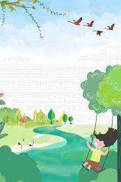 little girl swinging in spring , Swing, Little Girl, Twenty-four Solar Terms Background image