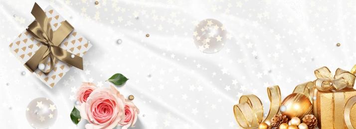禮物 包裝盒 緞帶 花卉, 緞帶, 白色, 愛的禮物白色簡約banner 背景圖片