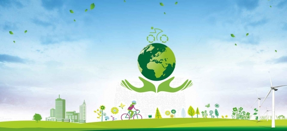 low carbon travel hand painted literary green banner, Low-carbon New Life, Energy-saving Electricity, Energy-saving New Technology Background image