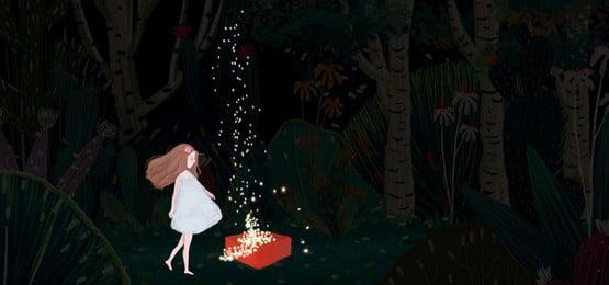 वन चिकित्सा प्रणाली पीली रात काल्पनिक दृश्य, चित्रण रात के बच्चे, रात के बच्चों का चित्रण, स्टार पृष्ठभूमि छवि