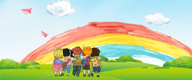 trường học lễ màu sắc phim hoạt hình, Vẽ Tay, Mây, Cầu Vồng Ảnh nền
