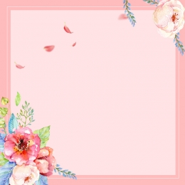 粉色 手繪 水彩 花卉 , 浪漫, 花卉, 邊框 背景圖片
