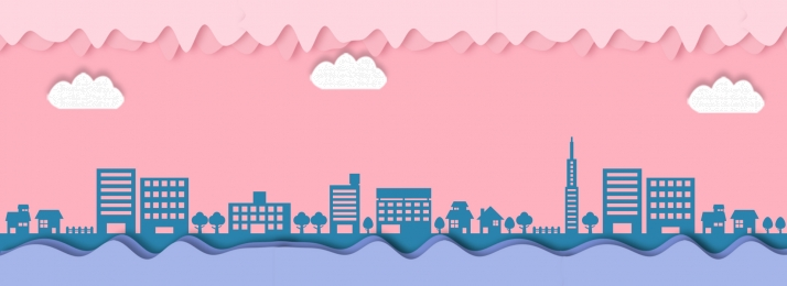 pink blue paper cut wind clouds, Building, Silhouette, Clouds ภาพพื้นหลัง