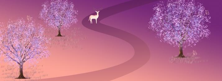 紫 夢のような ユーロ 森林, 蝶, ユーロ, 背景 背景画像