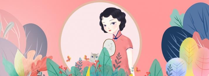 ロマンス 花 女性の日 女性, アート, 女性の日, 漫画 背景画像