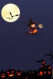 Round Moon Halloween Theme Poster Background Illustration, Halloween Theme, Poster, Design Background, Background image