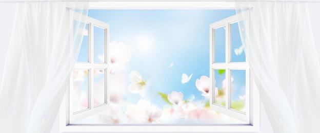 सरल सफेद खिड़कियां पर्दे, गर्मियों, खिड़कियां, पृष्ठभूमि पृष्ठभूमि छवि