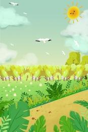 spring green blue sky landscape , Sunshine, Spring, Poster ภาพพื้นหลัง