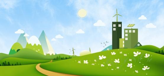 सुंदर घर पेड़ लगाने हरे पानी, Psd सामग्री, हरे रंग की बुवाई, पर्यावरण संरक्षण पृष्ठभूमि छवि