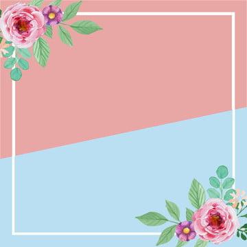 봄 여름 통관 핑크 블루 , 간단한, 꽃, 테두리 배경 이미지