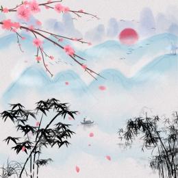 春 中国風 小さな新鮮な アート , 春, アート, Psdの重ね 背景画像