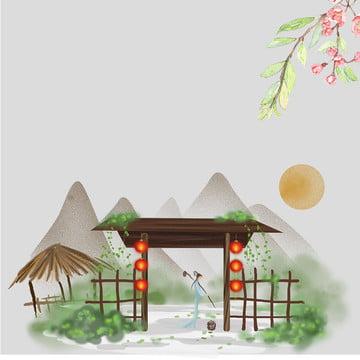 春 中国風 小さな新鮮な アート , Psdの重ね, 小さな新鮮な, アート 背景画像