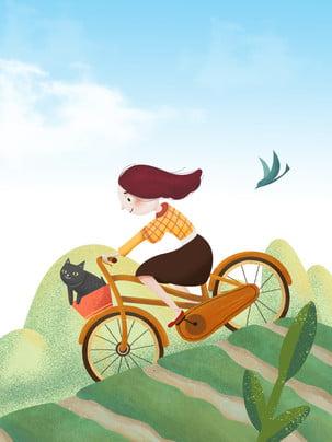 spring wild outing biking , Cycling, Girl, Blue Sky ภาพพื้นหลัง