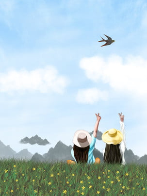 spring wild outing girl , Outing, Wildflowers, Blue Sky And White Clouds ภาพพื้นหลัง
