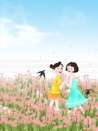 spring flower field stepping little girl , Flower, Little Girl, Flower Field Imagem de fundo