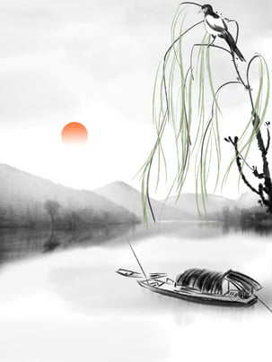spring ink chinese style landscape , Spring, Landscape, Ink ภาพพื้นหลัง