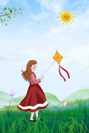 flat spring kite outing , Sunny, Illustration, Spring Breeze ภาพพื้นหลัง