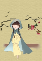 spring retro literary chinese style , Girl, Simple, Vernal Equinox ภาพพื้นหลัง