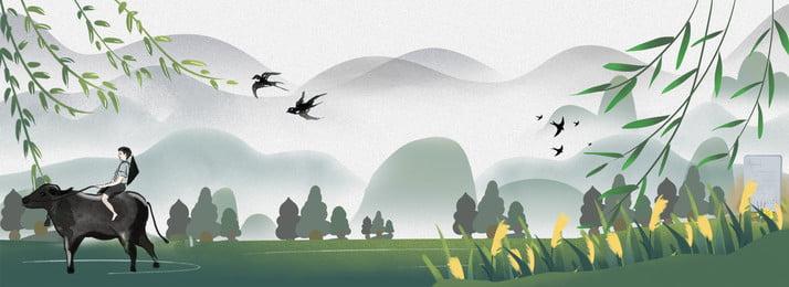 湖  手描き 中国風, 水墨画, バナー風景,  背景画像