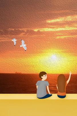 sunset afterglow perkahwinan perkahwinan , Seagull, Belakang, Hari imej latar belakang