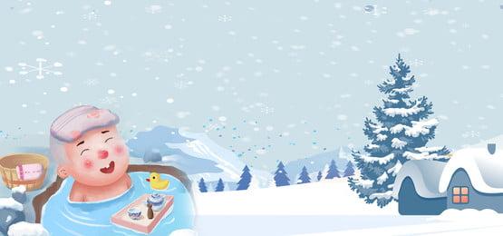 mùa đông tuyết spa cô gái hoa, Spa, Ngoài, đông Ảnh nền