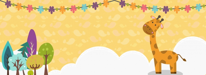 黄色 かわいい キリン 母子用品, バナー, キリン, 漫画 背景画像
