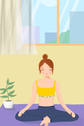 اليوغا المجتمع الكرتون الإعلان الخلفية , الخلفية, المجتمع, الإناث صور الخلفية