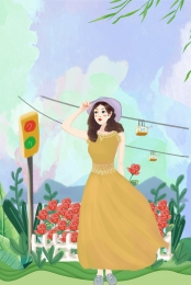 domestic travel travel abroad green plant suitcase , Girl, Beautiful, Illustration ภาพพื้นหลัง