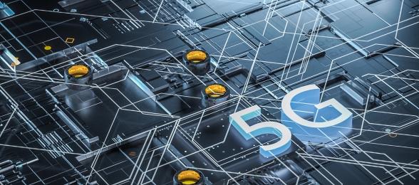 c4d stereo technology business telecom 5g communication chip blue background, C4d, Technology Stereo, Business Background image