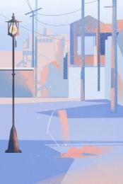 street lamp city real estate cartoon pattern cartoon illustration , Cartoon, City, Cartoon City Street Фоновый рисунок