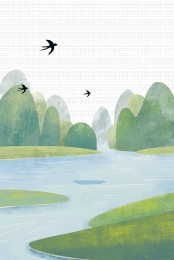 swallow blue sky and white clouds green plants ecological plants , Cartoon, Ecological Plants, Swallow ภาพพื้นหลัง