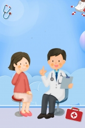 cartoon simple medical health , Propaganda, Checkup, Hospital ภาพพื้นหลัง