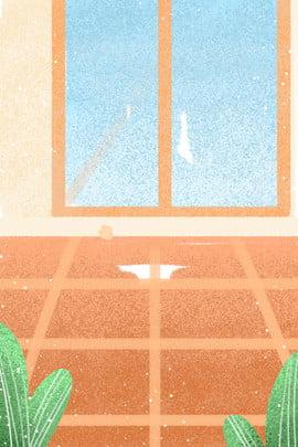ウィンドウ 漫画のパターン 漫画の実例 オレンジ色の床 , 漫画のオレンジ色の床, 葉, 植物 背景画像