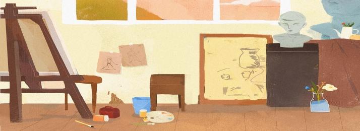 cartoon painting studio free clipart, Cartoon Studio, Cartoon Pattern, Cartoon Illustration Background image