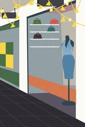 ショッピングモール デパート ファッション衣類 モデル , 漫画イラスト, 無料で洋服を売る漫画店, ファッション衣類 背景画像
