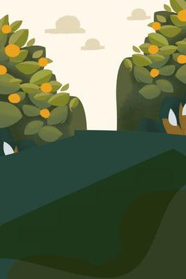 cartoon landscape spring landscape fruit trees , Cartoon Spring Travel Landscape Background, Spring Landscape, Road ภาพพื้นหลัง