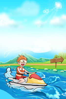 cartoon summer surf sport background template , Cartoon, Surfing, Water Sports Background image