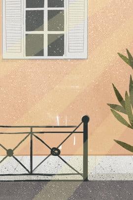 鉢植えの植物 フェンス 漫画 漫画イラスト , 漫画ウィンドウと植物無料イラスト, 漫画, 漫画の窓や植物 背景画像