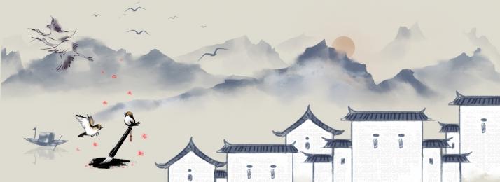 中国 古代 水墨画 風景 家 背景イラスト 中国 背景画像