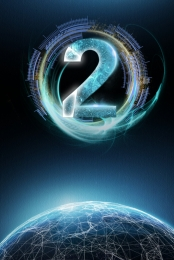 倒計時 數字 2 科幻 , 倒計時2酷炫星空, 數字, 倒計時 背景圖片