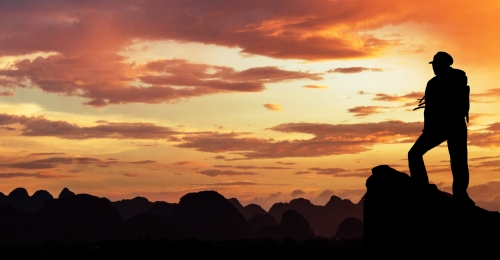 creative synthetic sunset silhouette of successful summit, Silhouette, Evening, Beautiful Background image