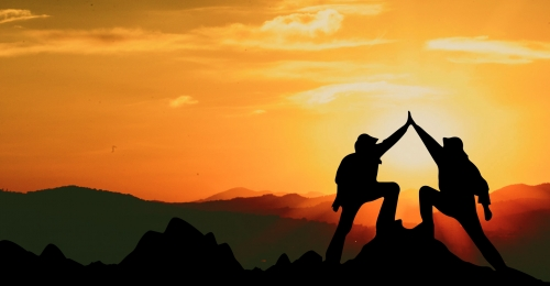 creative synthetic sunset  successful summit  celebratory character silhouette, Silhouette, Clap, Celebrate Background image