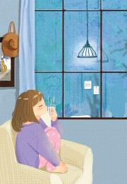 लड़की रात में खिड़की से बाहर देखती है प्यारा गर्म नीला , लड़की रात में खिड़की से बाहर देखती है, कार्टून, घर पृष्ठभूमि छवि