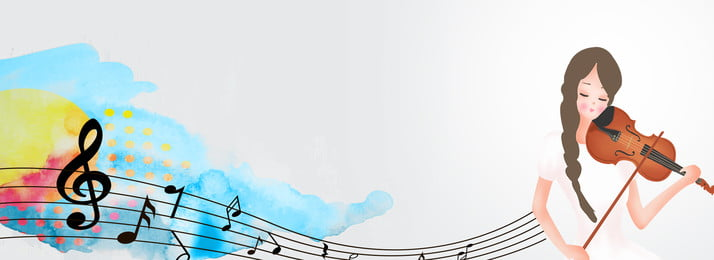 grey minimalistic watercolor music banner background, Music, Violin, Musical Instrument Background image