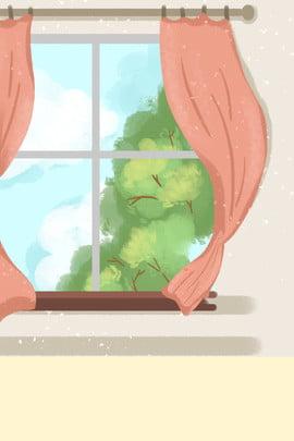 interior cozy cute glass window cartoon background , Interior Background, Warm, Lovely Background image